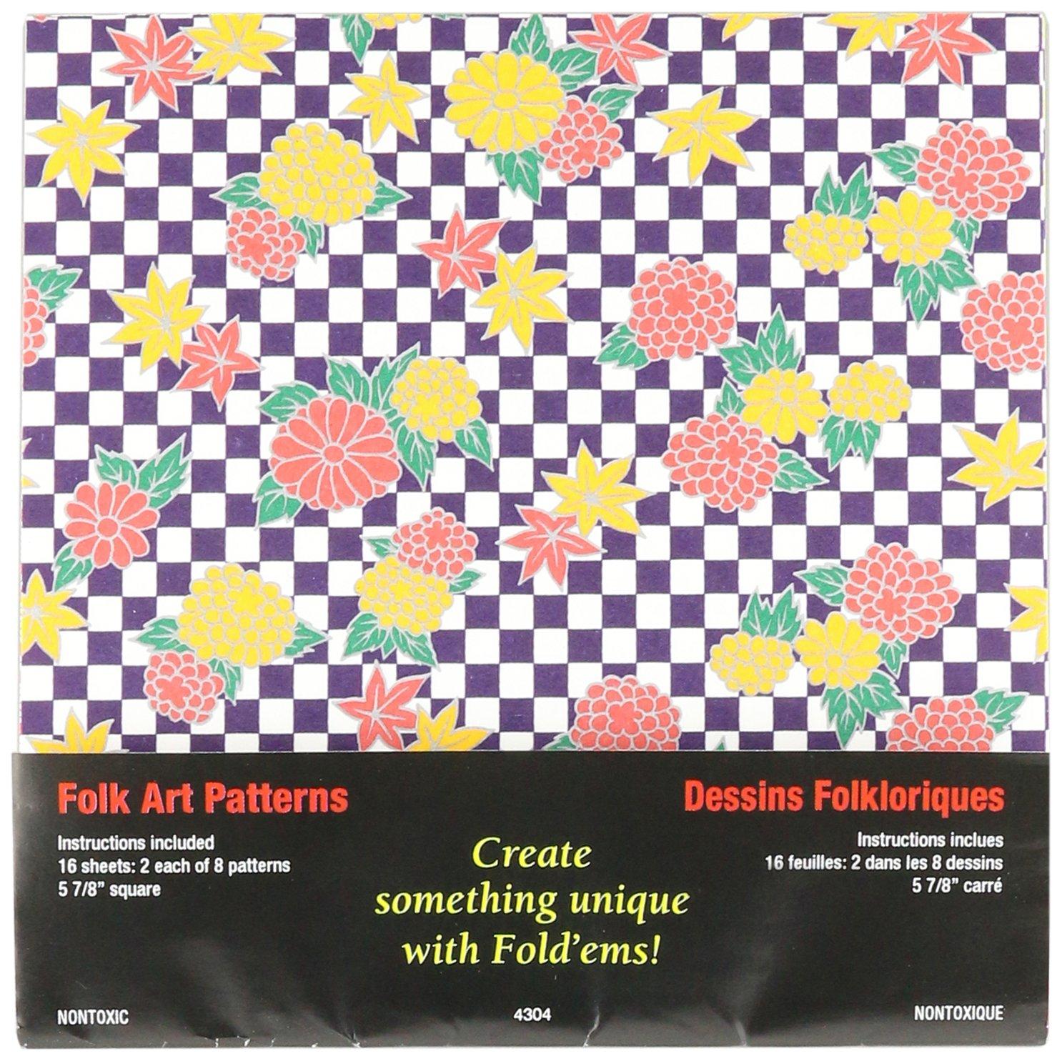 Piegare ' Ems Origami carta 5, 875 16/Pkg-Folk Art 875 16/Pkg-Folk Art Yasutomo 301279