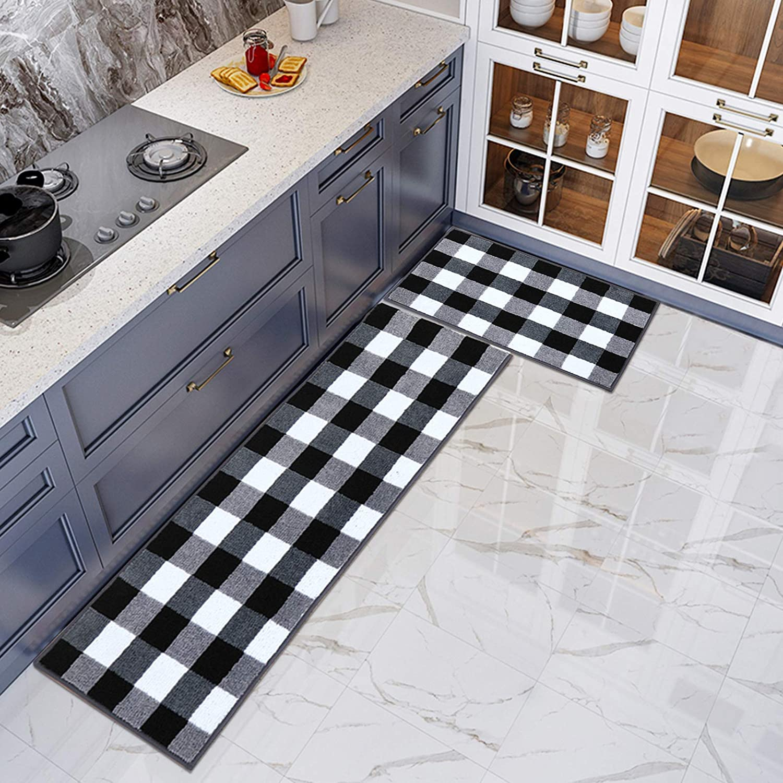 Buffalo Plaid Checkered Bath Rug 2 Pieces Set Absorbent Microfiber Non-Slip Kitchen Mat Check Doormat Carpet for Laundry 17