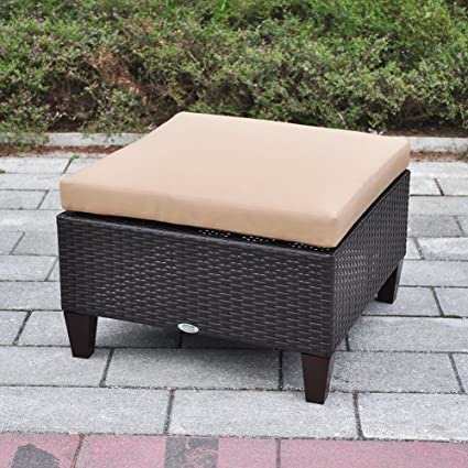 Outstanding Outdoor Patio Wicker Ottoman Seat With Cushion All Weather Resistant Foot Rest Stool Coffee Table Easy To Assemble Brown Dailytribune Chair Design For Home Dailytribuneorg