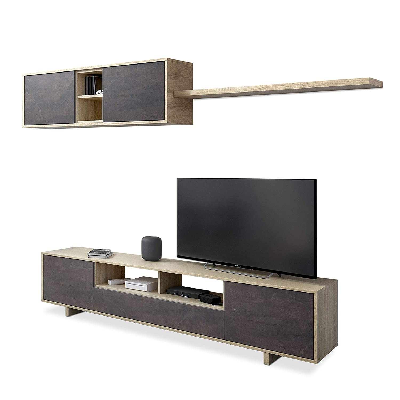 Habitdesign Mueble de Comedor Moderno, Modelo Belus, Medidas: 200 cm (Ancho) x 41 cm (Fondo) x 46 cm (Alto), Roble Canadian y oxido