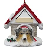 """Australian Shepherd Ornament A Great Gift For Australian Shepherd Owners Hand Painted and Easily Personalized """"Doghouse Ornament"""" With Magnetic Back"""