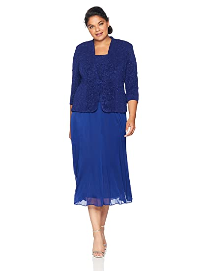 db9f54d2d4a Alex Evenings Women s Plus-Size Jacquard Jacket Dress with Mesh Skirt  Special Occasion  Amazon.co.uk  Clothing