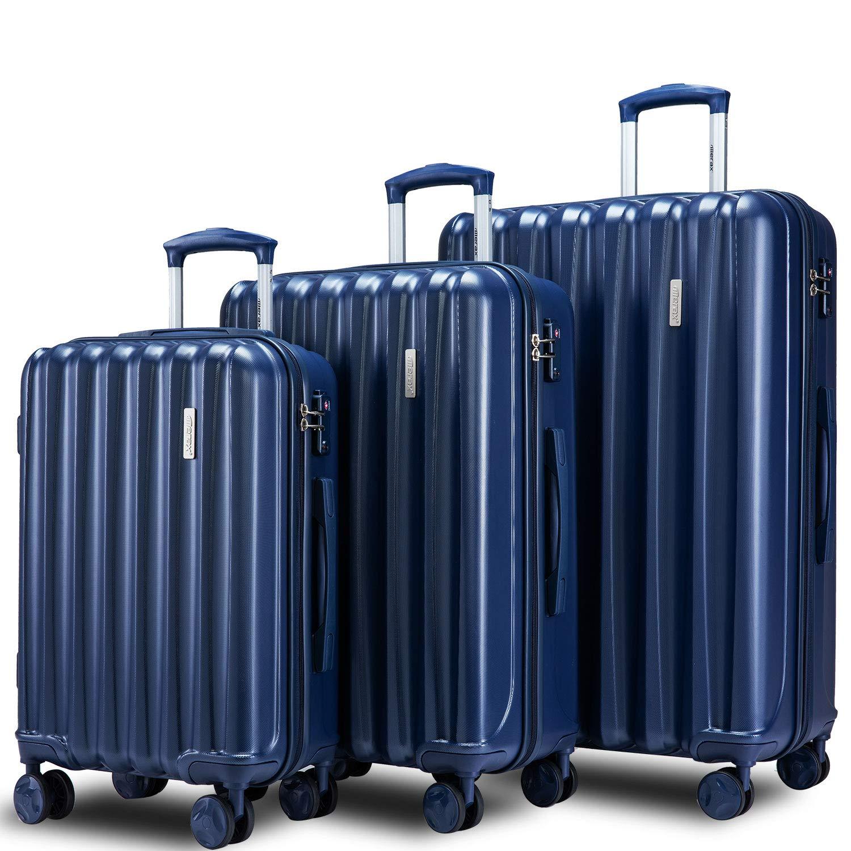 Merax Hylas 3 Piece Luggage Set with TSA Lock and Dual Spinner Wheels, Hardside Lightweight Suitcase Set 20inch 24inch 28 inch (3-piece set, blue) by Merax