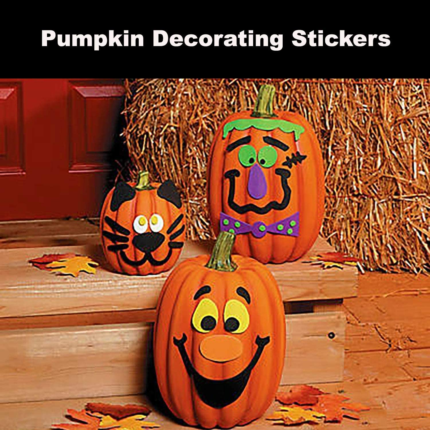 4e S Novelty Halloween Pumpkin Decorating Stickers Kit Self Adhesive Pumpkin Face Foam Stickers 24 Pack Decorates 24 Pumpkins For Jack O Lantern Decoration Kit For Kids Toddlers Toys Games