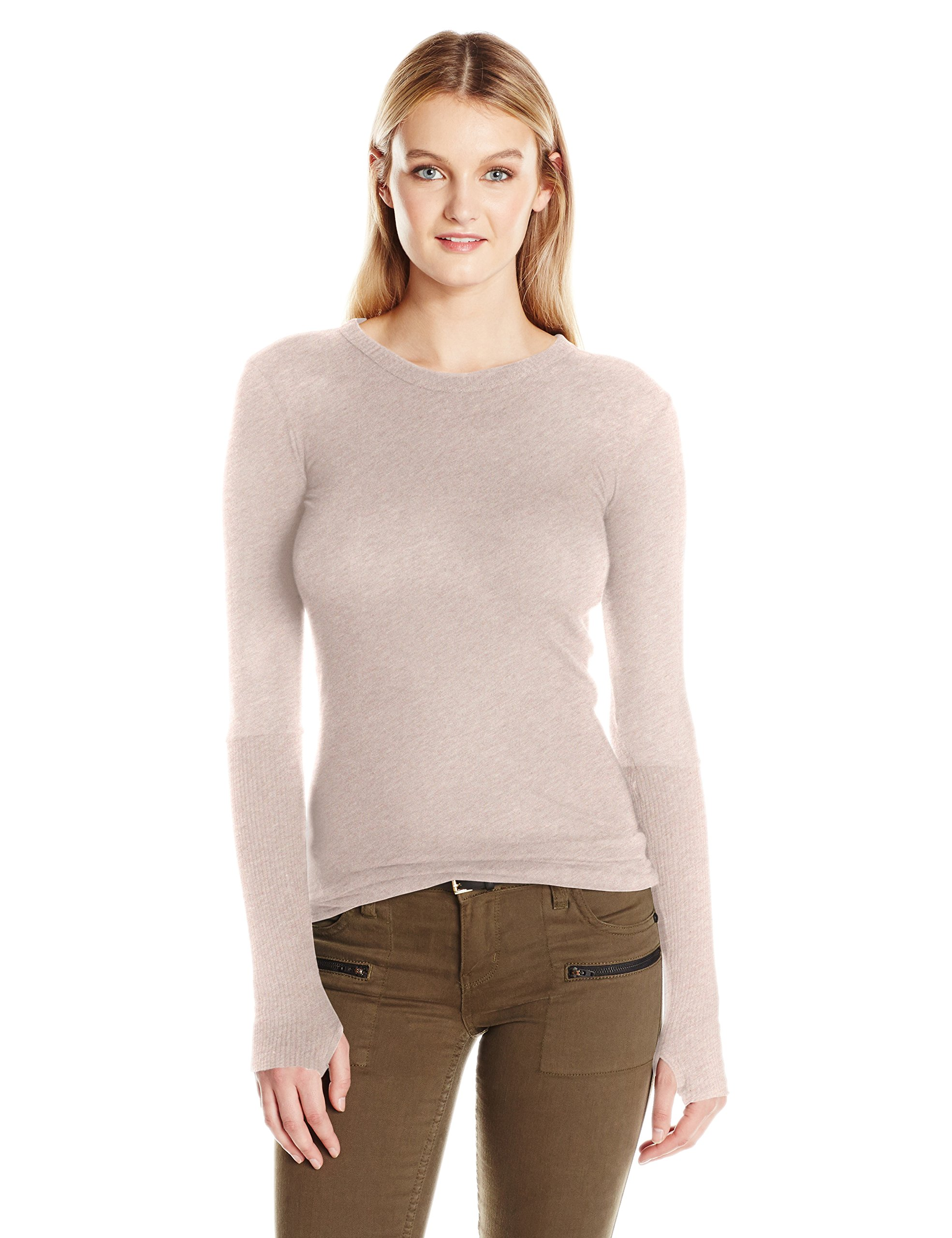 Enza Costa Women's Cashmere Long Sleeve Cuffed Crew With Thumbhole, Pink/Beige, L