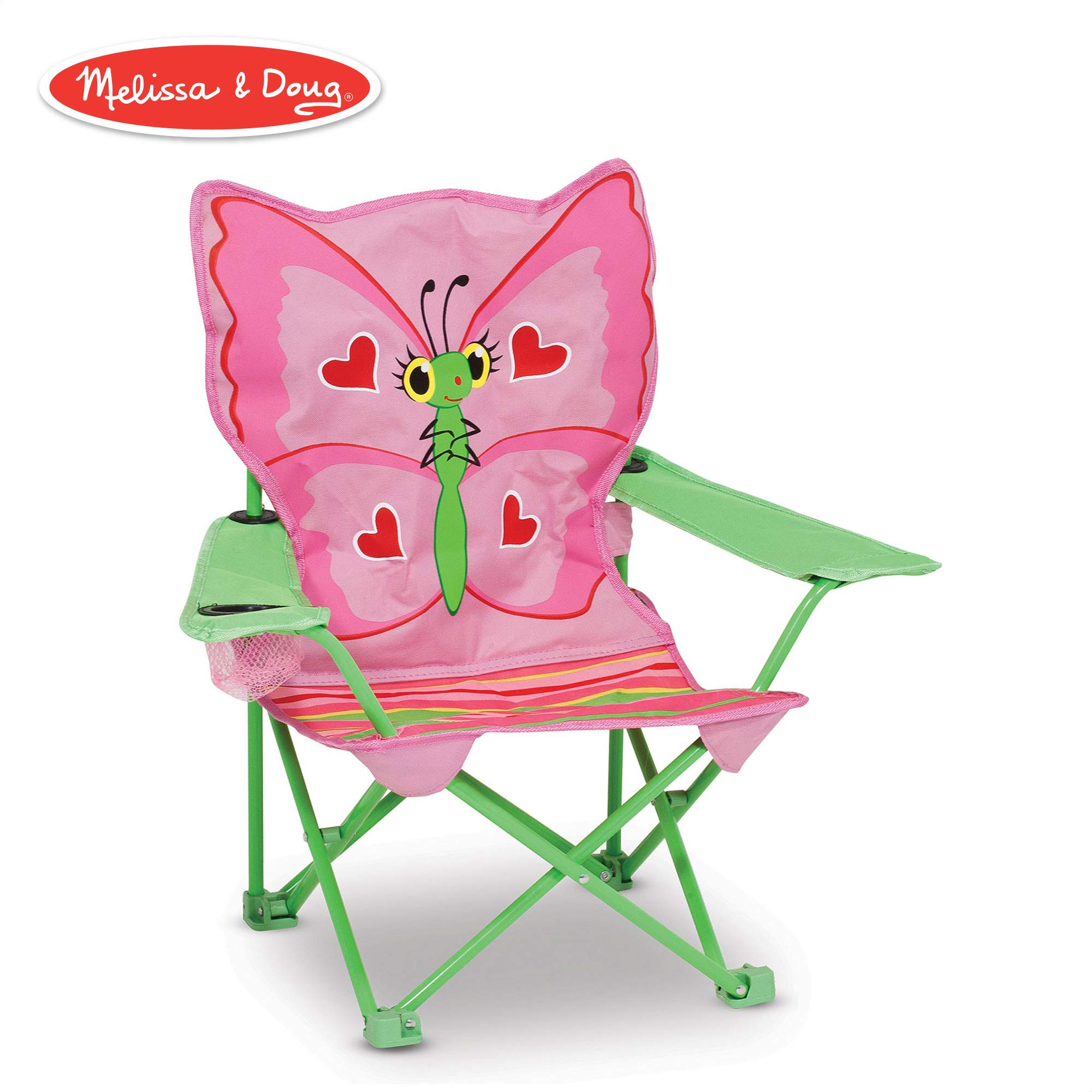 Melissa & Doug Bella Butterfly Child's Outdoor Chair (Easy to Open, Handy Cup Holder, Cleanable Materials, Carrying Bag, 23.7'' H x 6.7'' W x 6.7'' L) by Melissa & Doug