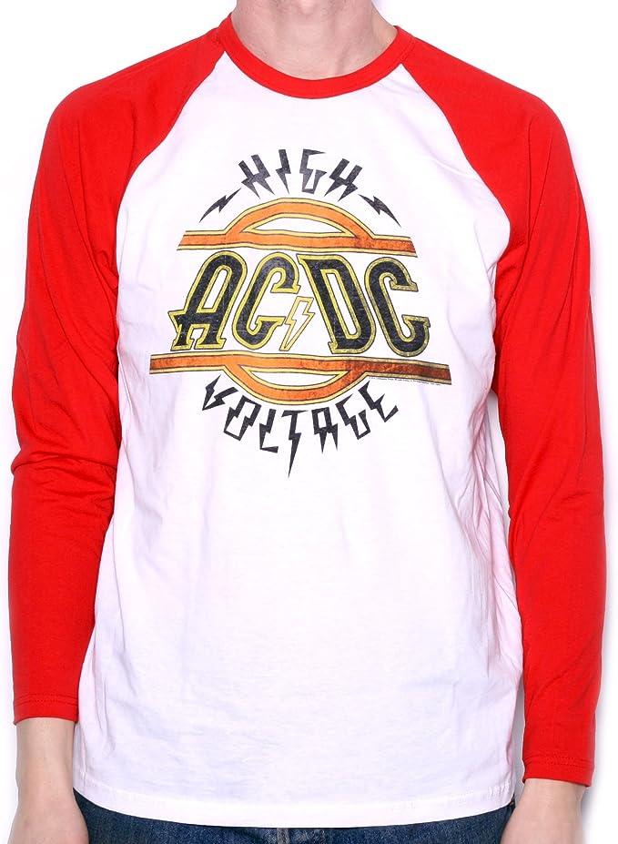 AC/DC T???Camiseta manga larga de alto voltaje B?isbol Camisa 100% oficial: Amazon.es: Ropa y accesorios