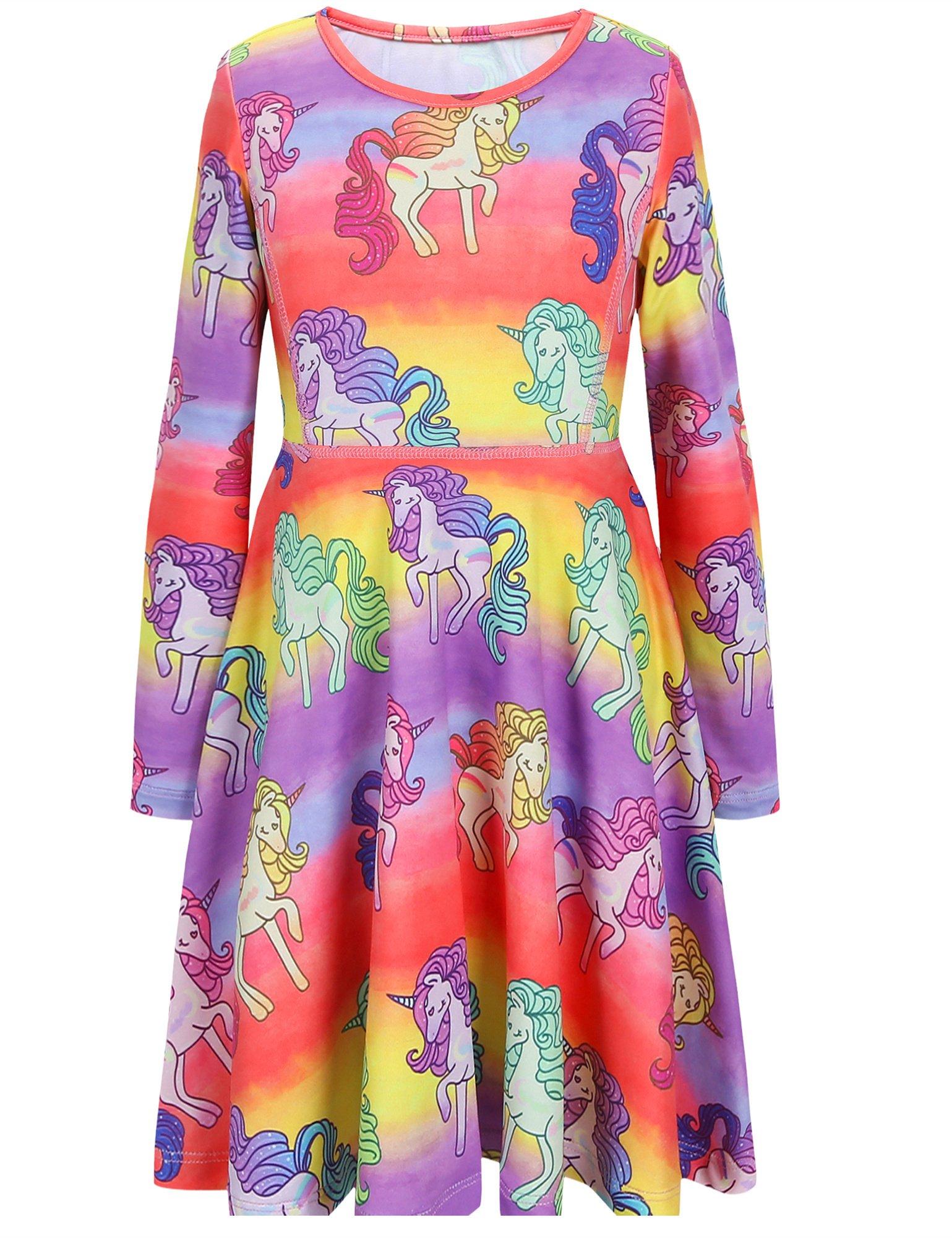 Jxstar Girls Long Sleeve Dress Winter Dress Hawaiian Dress Birthday For Girls Unicorn 150