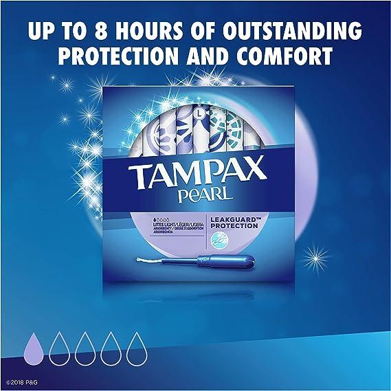 Tampax Pearl Lites Pack de 2 cajas de 36 tampones de plástico sin perfume, absorción ligera