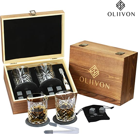 Premium Whiskey Stones Gift Set - 2 Diamond Cut Whiskey Glasses