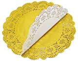 100 Pcs 8.5 Inch Round Lace Gold Paper Doilies Gold Foil Paper Placemats Doily Paper Pad for Cakes Crafts Party Weddings Tableware Décor