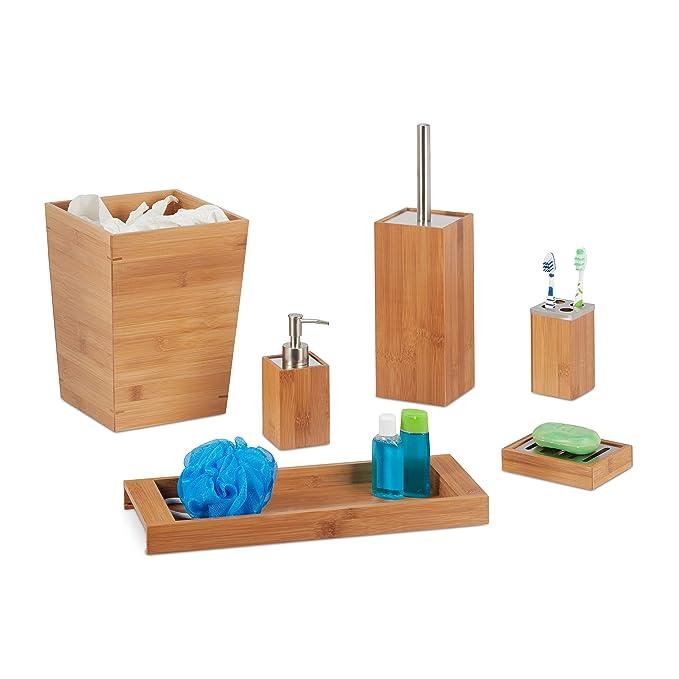Relaxdays - Juego de baño, 6 Piezas, bambú, dispensador de jabón, Soporte para jabón, Soporte para Cepillo, Vaso para cepillos de Dientes, Bandeja, ...