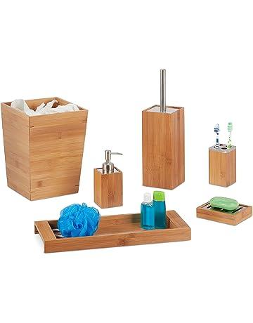 Relaxdays - Juego de baño, 6 Piezas, bambú, dispensador de jabón, Soporte