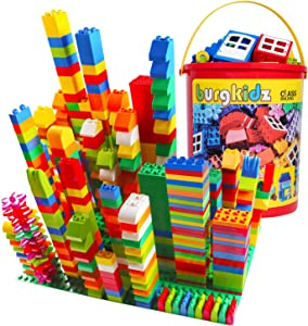 Big Building Block Sets - 214 Pieces Toddler Educational Toy Classic Large Size Building Block Bricks - 13 Fun Shapes and Storage Bucket - Compatible with All Major Brands Bulk Bricks Set for All Ages