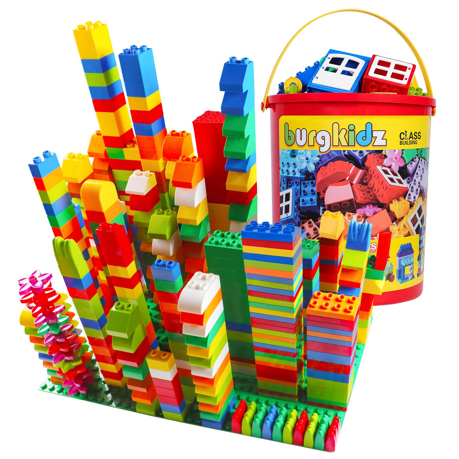 burgkidz Big Building Block Sets - 214 Pieces Toddler Educational Toy Classic Large Sizes Building Blocks Bricks - 13 Fun Shapes and Storage Bucket - Compatible with All Major Brands by burgkidz (Image #1)