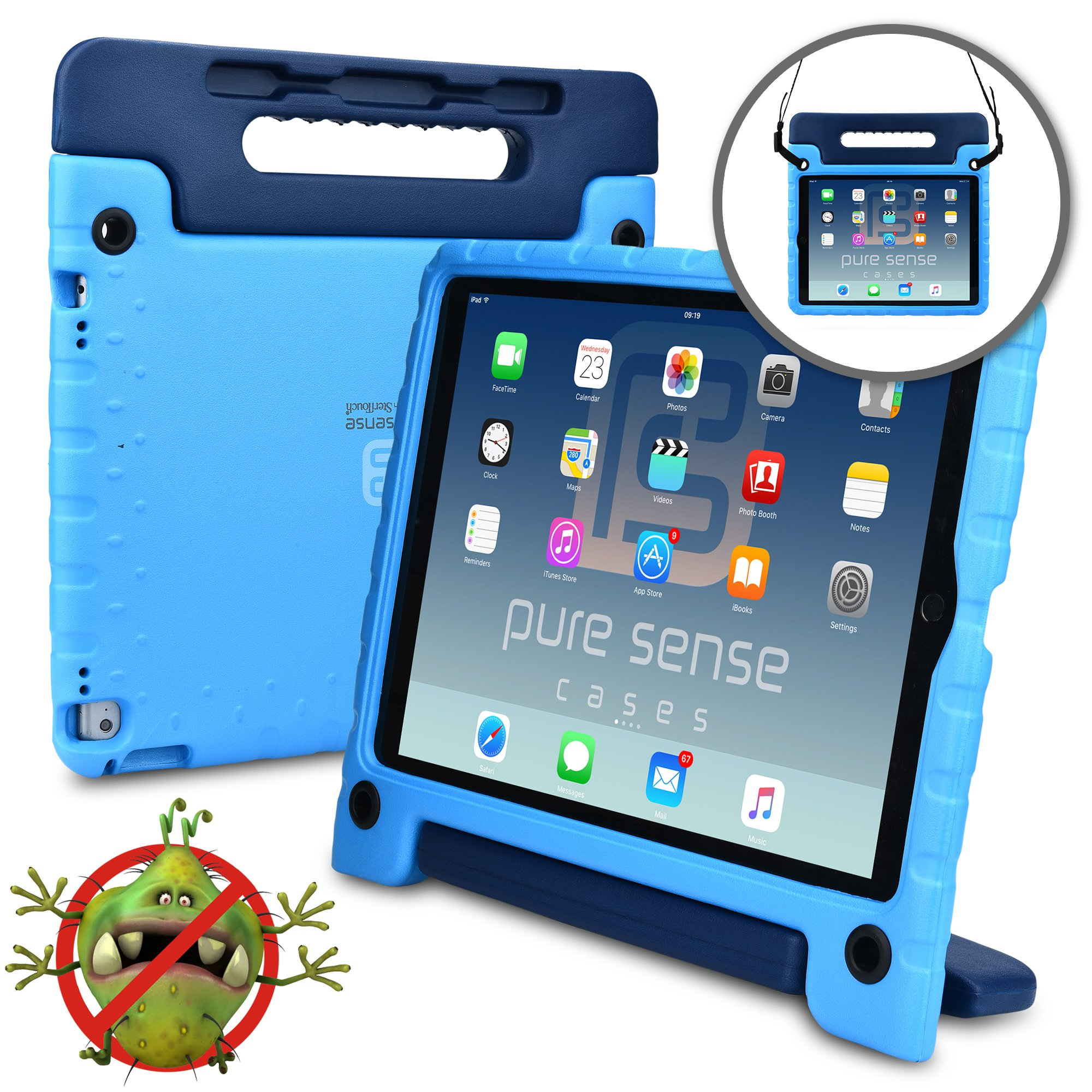 PURE SENSE BUDDY Kids Case compatible with Apple iPad Pro 12.9 | Anti Microbial Heavy Duty Shock Proof Cover for Kids | Protective Case Boys Girls | Shoulder Strap, Handle & Stand | A1584 A1652 (Blue)