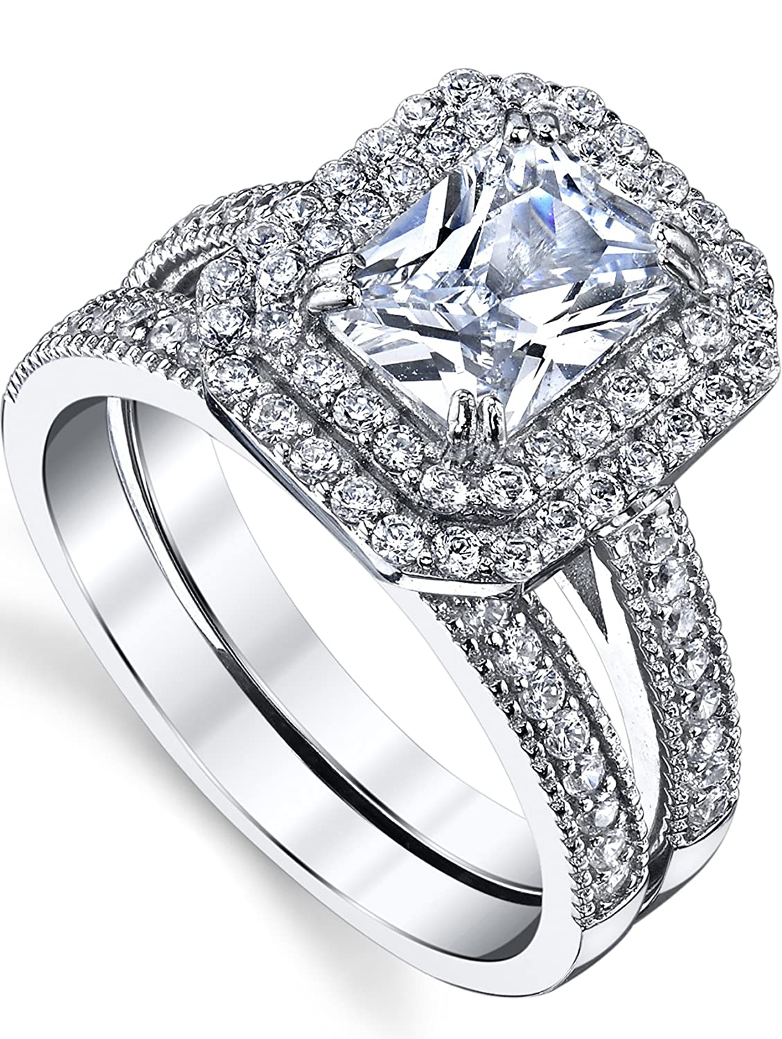 Bridal Set 2 Carat Emerald Cut Sterling Silver and Cubic Zirconia Wedding Ring Engagement Band