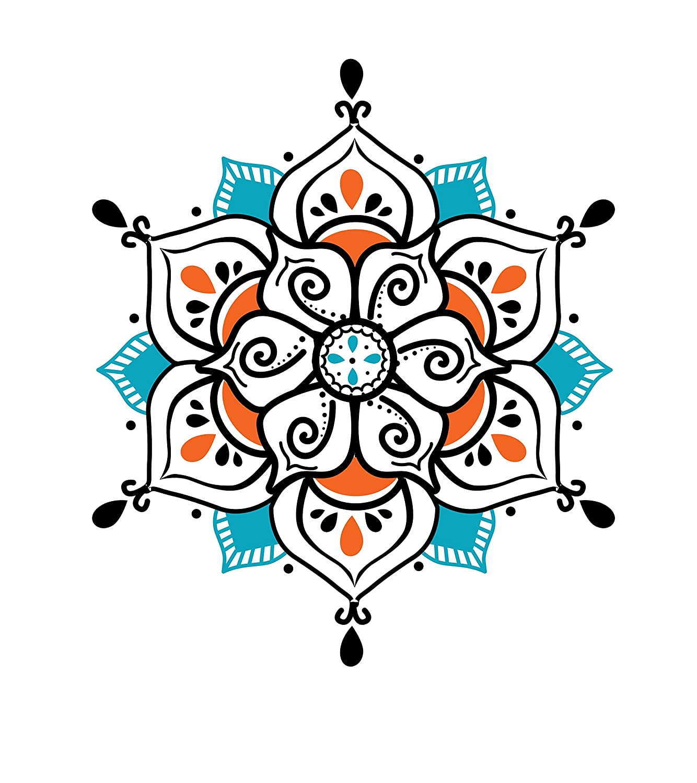 Amazon.com: Large Yoga Mandala Temporary Tattoo - Realistic ...