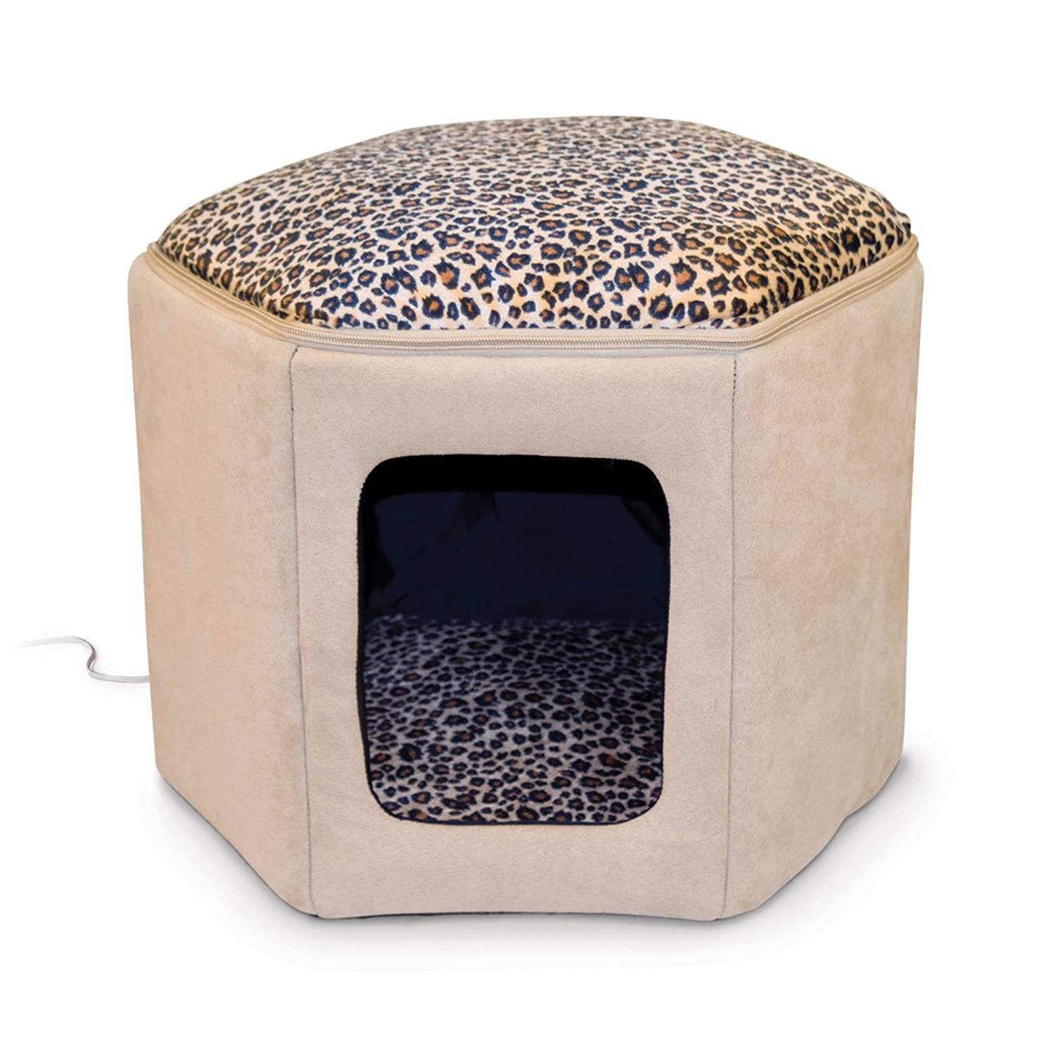 K H Manufacturing Kitty Sleephouse Tan/Leopard 4 Watt Heater