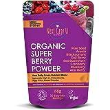 Next Gen U | Organic Super Berry Powder 150g | Vegan Detox Superfood Berries Smoothie Blast Supplement | High in Antioxidants Acai Cranberry Blueberry Blackcurrant Goji Aronia Flax Seed