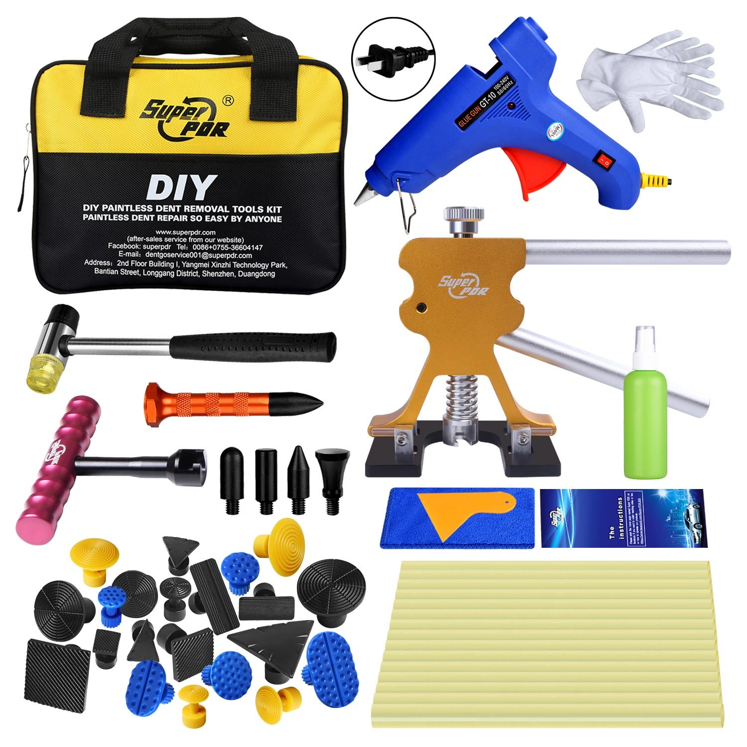 Super PDR Paintless Dent Repair (PDR Tools) Car Dent Puller Kit Dent Removal Tools Dent Lifter Kit with Tool Bag