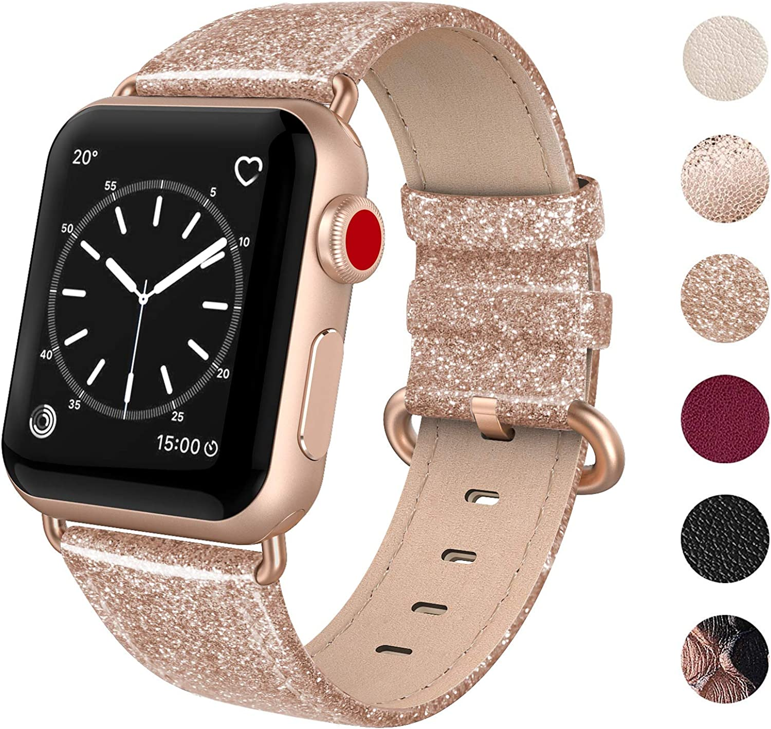 SWEES Leather Band Compatible for iWatch 38mm 40mm, Genuine Leather Replacement Strap Rose Gold Buckle Compatible iWatch Series 6 5 4 3 2 1, Sports & Edition Women Rose Gold, Brown, Black