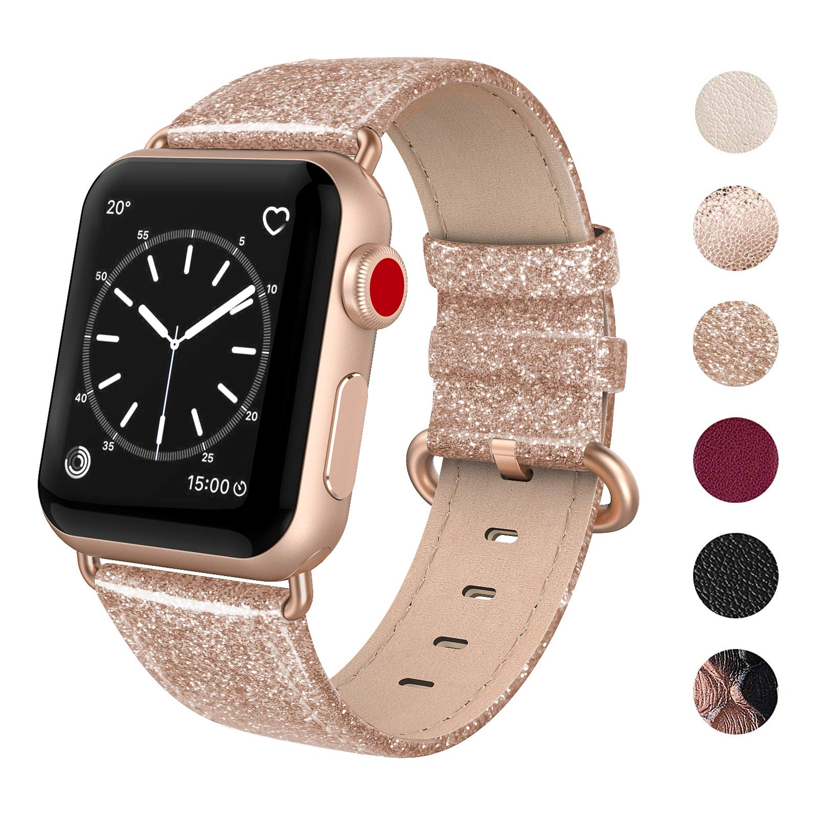 SWEES Leather Band Compatible for Apple Watch 38mm 40mm, Genuine Leather Shiny Bling Glitter Strap Compatible iWatch Series 4 Series 3 Series 2 Series 1, Sports & Edition Women, Glistening Rose Gold by SWEES
