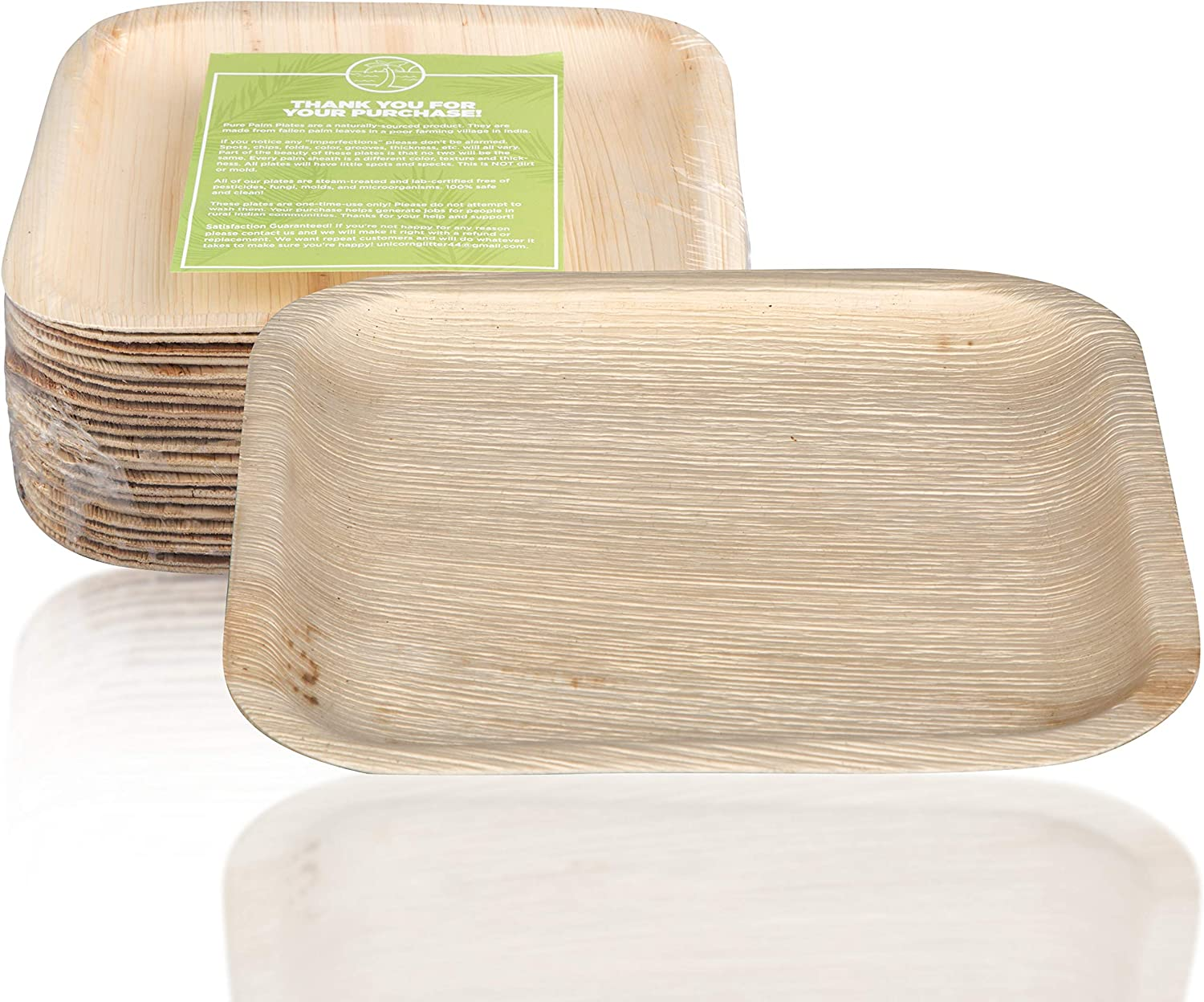 """Pure Palm Planet Friendly Palm Leaf Plates; Bamboo-Style, Upscale Disposable Dinnerware; All-natural Biodegradable Plates (10"""" Square) (25 pack)"""