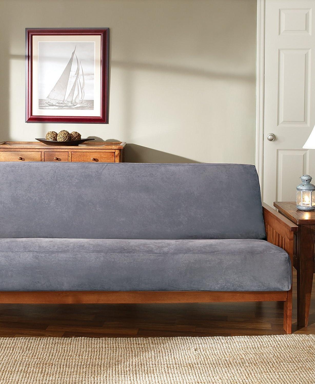 amazoncom sure fit soft suedesherpa futon slipcover sable sf36199 home u0026 kitchen