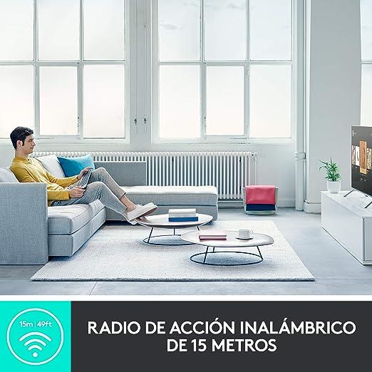 Logitech K600 TV - Teclado para Smart TV (touchpad y mando de dirección integrados, Bluetooth, USB) - GRAPHITE WHITE - ESP - 2.4GHZ/BT - N/A - MEDITER