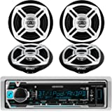 "Kenwood KMR-M315BT Bluetooth MP3 Marine Boat Yacht Bike AUX USB iPod iPhone Input Radio Player Stereo Receiver, and 4 X Enrock 6.5"" Black/Chrome Marine Audio Speakers System"
