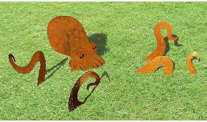 Octopus Garden Sculpture, Steel Branch Squid Garden Decor, Unique Octopus Statue Artistic Figurine Ornaments for Lawn Yard Balcony Porch Patio Outdoor Backyard Statue Decorations (A)