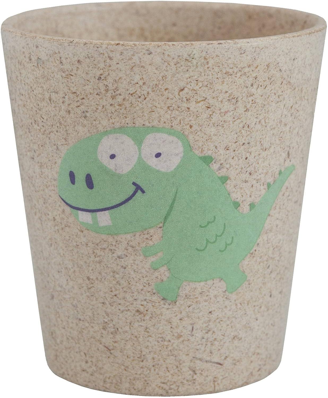 JACK N' JILL - Bicchiere risciacquo - Con disegno di Dinosauro - Per bambini - Igienico e biodegradabile - Realizzato con bambù e bucce di riso Yumi Bio Shop