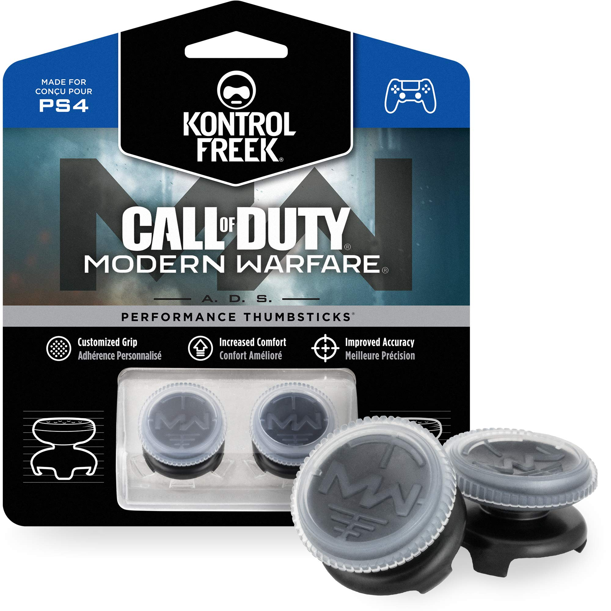 KontrolFreek Call of Duty: Modern Warfare - A.D.S. Performance Thumbsticks for PlayStation 4 (PS4) | 2 High-Rise, Concave | Transparent/Black by KontrolFreek