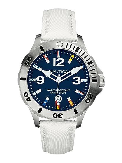 Nautica A12568G - Reloj analógico para Hombre, Correa de Cuero Color Blanco: Amazon.es: Relojes