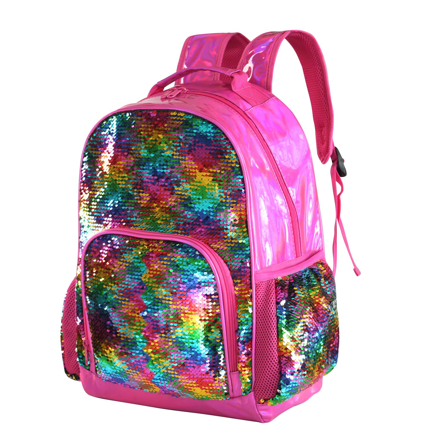 3e1c3c7bca4 Holographic Sequin School Backpack Bookbag for Girls Kids Casual Bling  Magic Mermaid Book Bag Back Pack