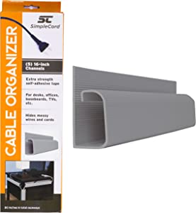 J Channel Desk Cable Organizer by SimpleCord – 5 Grey Raceway Channels - Gray Cord Cover Management Kit for Desks, Offices, and Kitchens