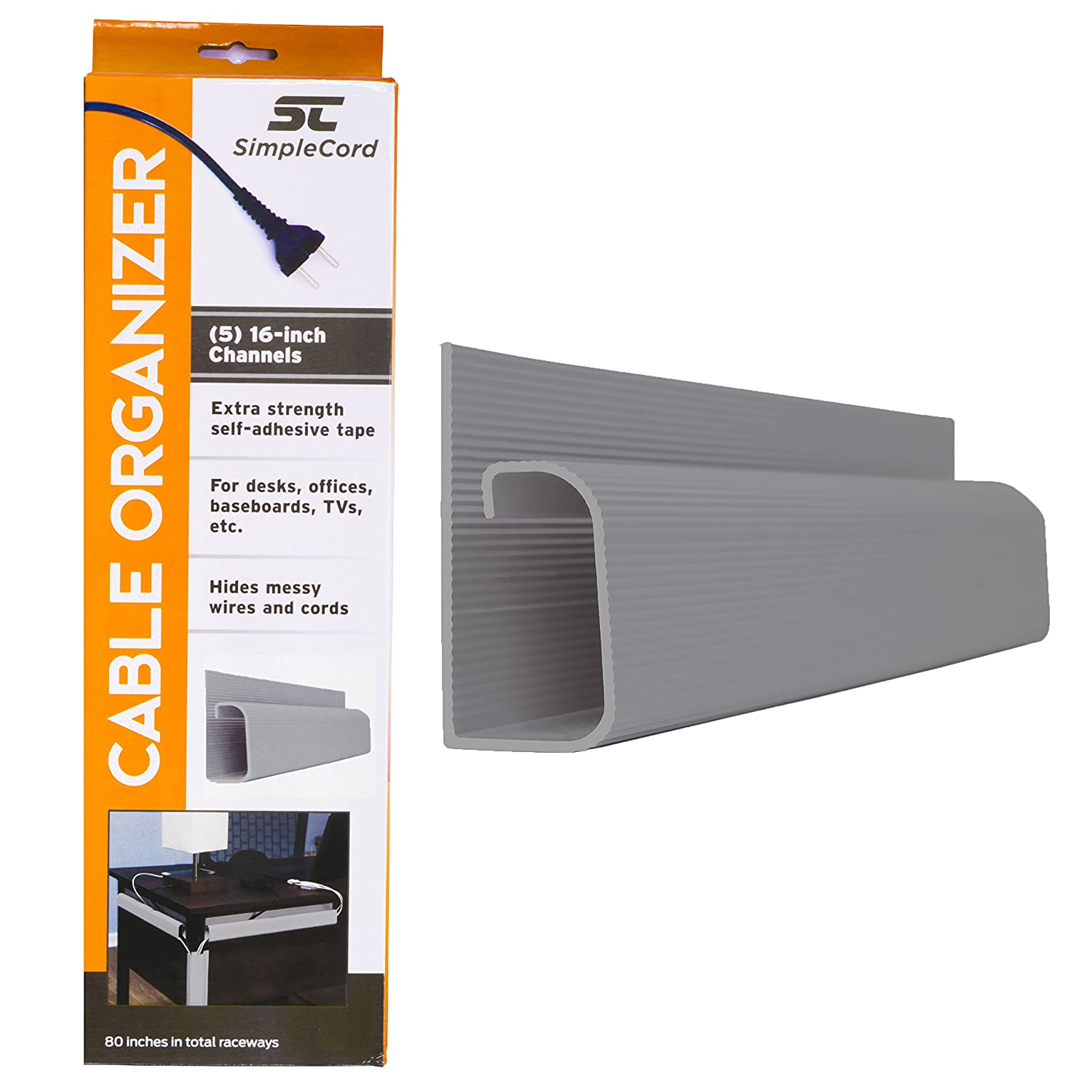 Amazon.com: J Channel Desk Cable Organizer by SimpleCord – 5 Grey ...