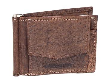 Geldscheinklammer Ledergeldb/örse Echt-Leder Geldklammer M/ünzfach Money Clip Geldb/örse Portemonnaie AM-AS76 Braun