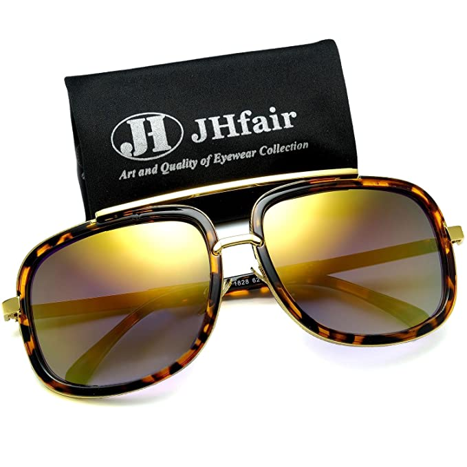 93657c926ed Amazon.com  JHfair Square Aviator Fashion Mens Womens Sunglasses ...