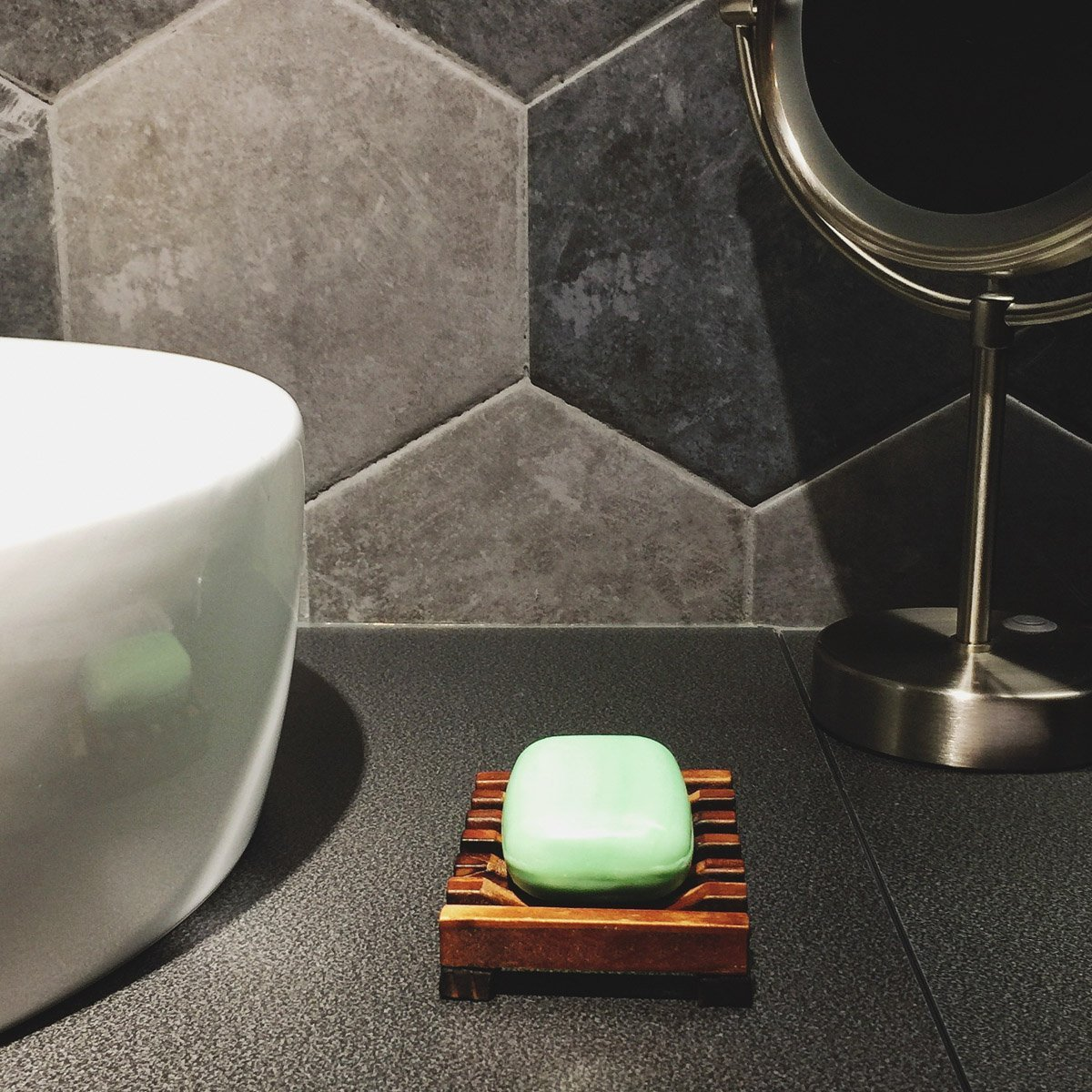 Home baño Soap Wooden Soap Holder lavabo bañera de baño ducha Plato Ducha Rectangular manualidades de madera natural para esponjas, Scrubber, ...