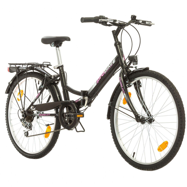 Multimarca, Folding City 24 Lady, 24 Pulgadas, 457 mm, Bicicleta de Montaña Plegable, 18 velocidades, para Mujeres, Niña, Guardabarros Delantero y Trasero, Lustre Blanco Lilac-Gris (Blanco-Purple) Multibrand Distribution