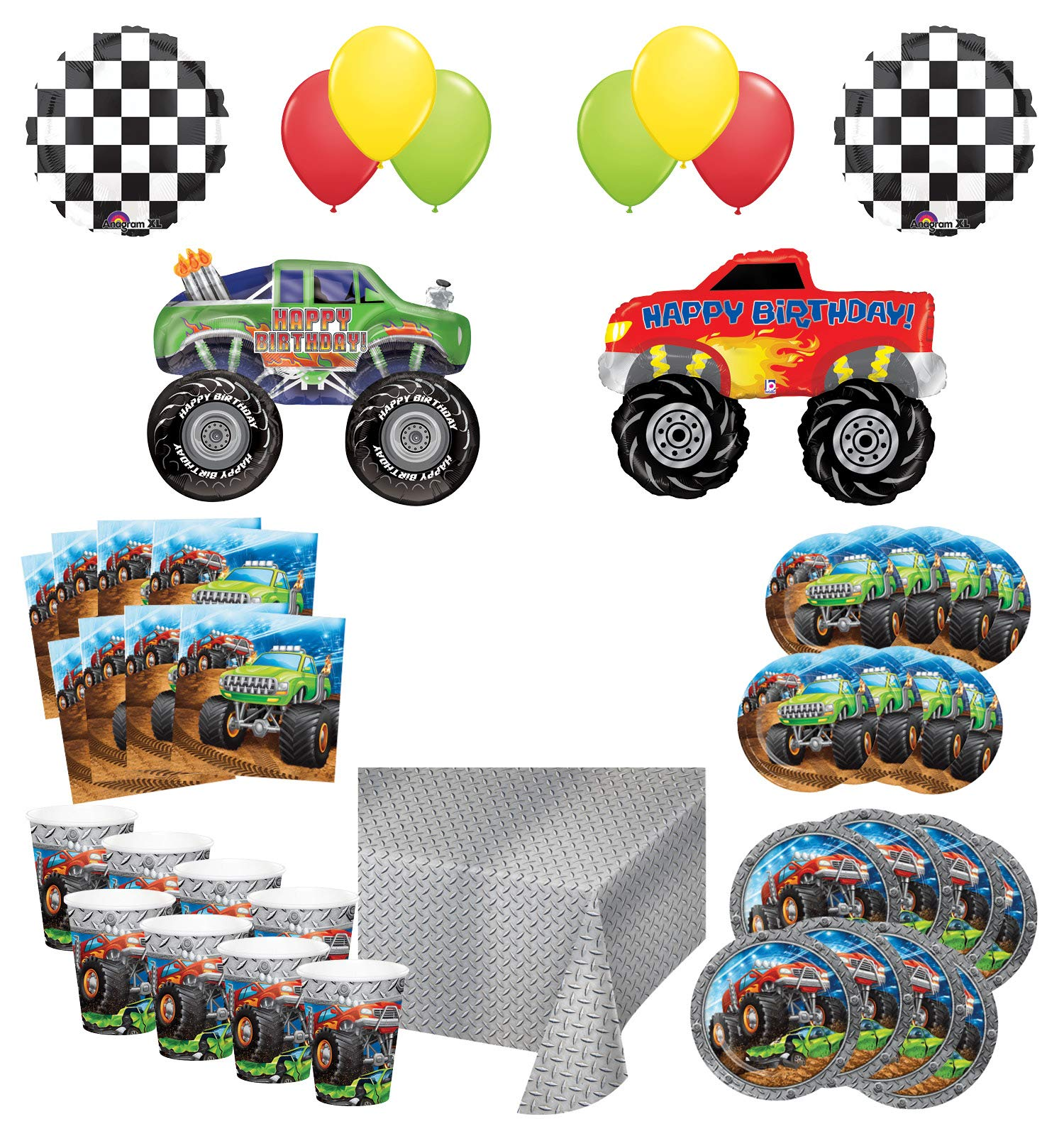 Mayflower Products Monster Truck Rally Birthday Party Supplies 16 Guest Decoration Kit with Green and Red Monster Truck Balloon Bouquet