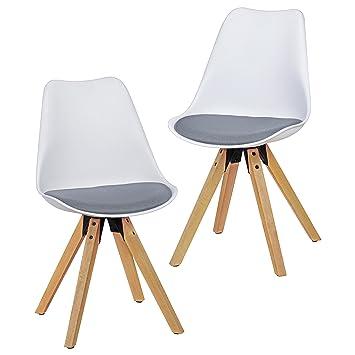 Wohnling 2er Set Retro Esszimmer Stuhl LIMA Ohne Armlehne, Sitzfläche  Stoffbezug Küchenstuhl Mit Weißer