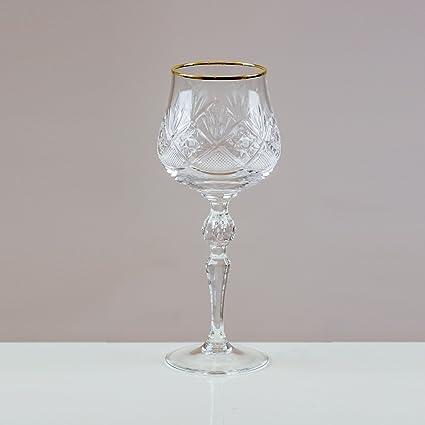 Victoria de cristal con borde dorado Volarna copas de vino tinto 24% corte cristal de