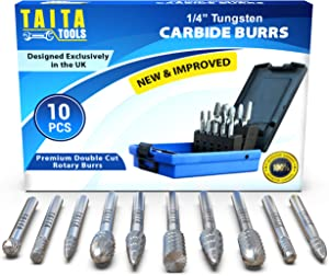 """10PC Carbide Burr Set 1/4"""" Shank, Solid Tungsten Double Cut Rotary Die Grinder Bits - Accessories For Fordom, Dewalt, Milwaukee And Makita- For Wood Carving, Metal Working, Drilling And Grinding"""