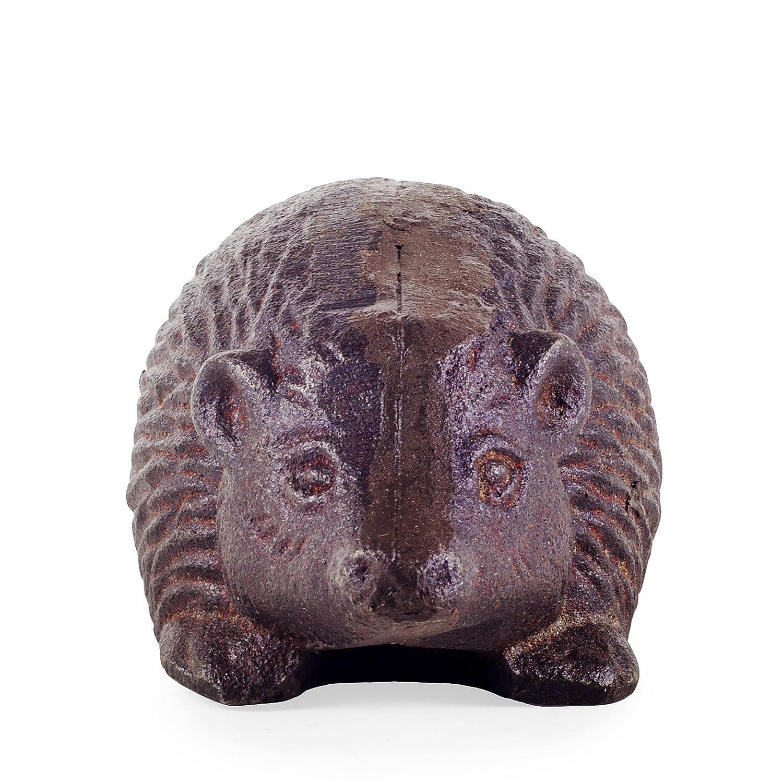 Detailed Cast Iron Hedgehog Garden Ornament in Antique Brown Finish
