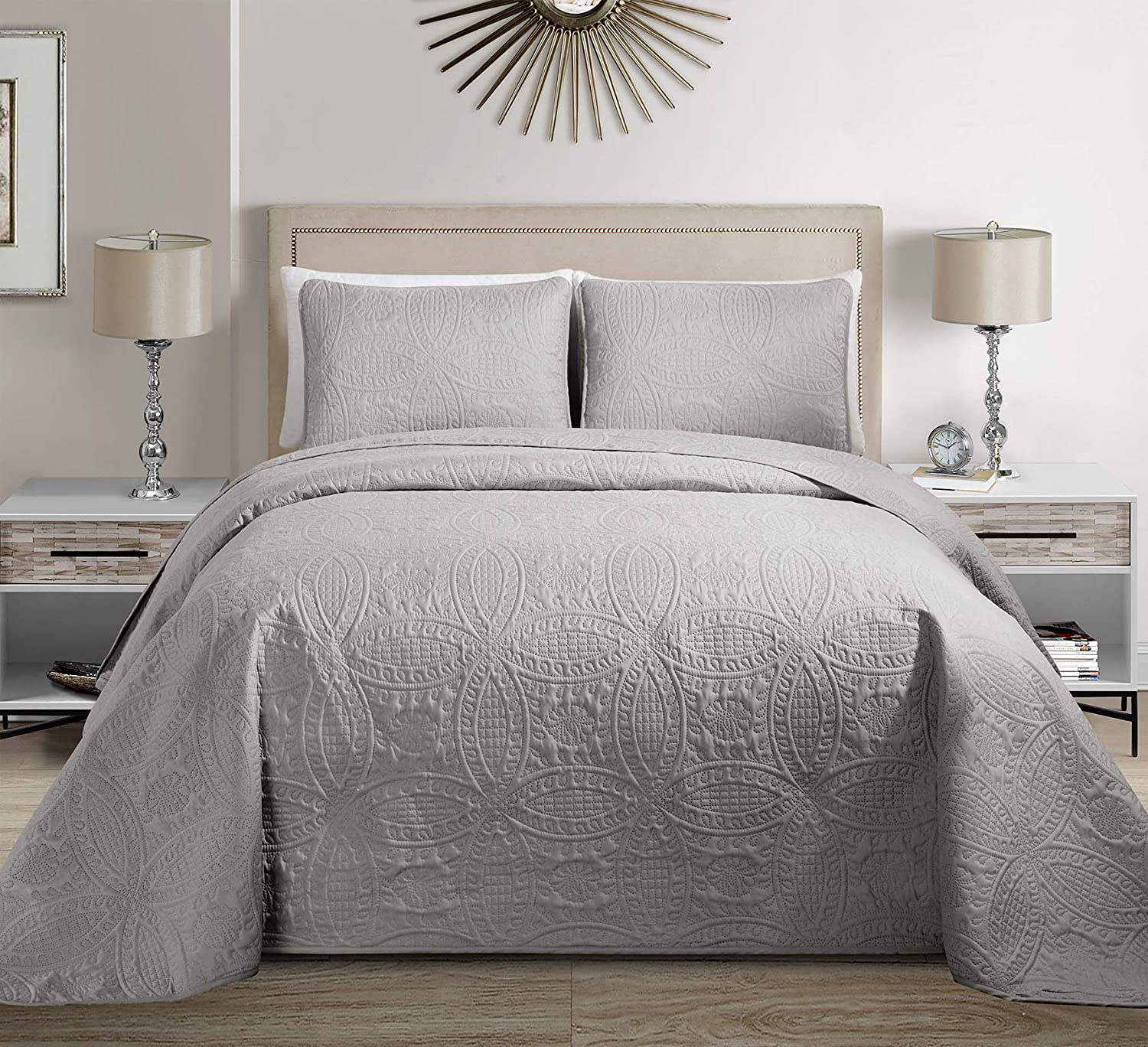 MK Home Mk Collection 3pc King/California King Solid Embossed Bedspread Bed Cover Over Size Silver New