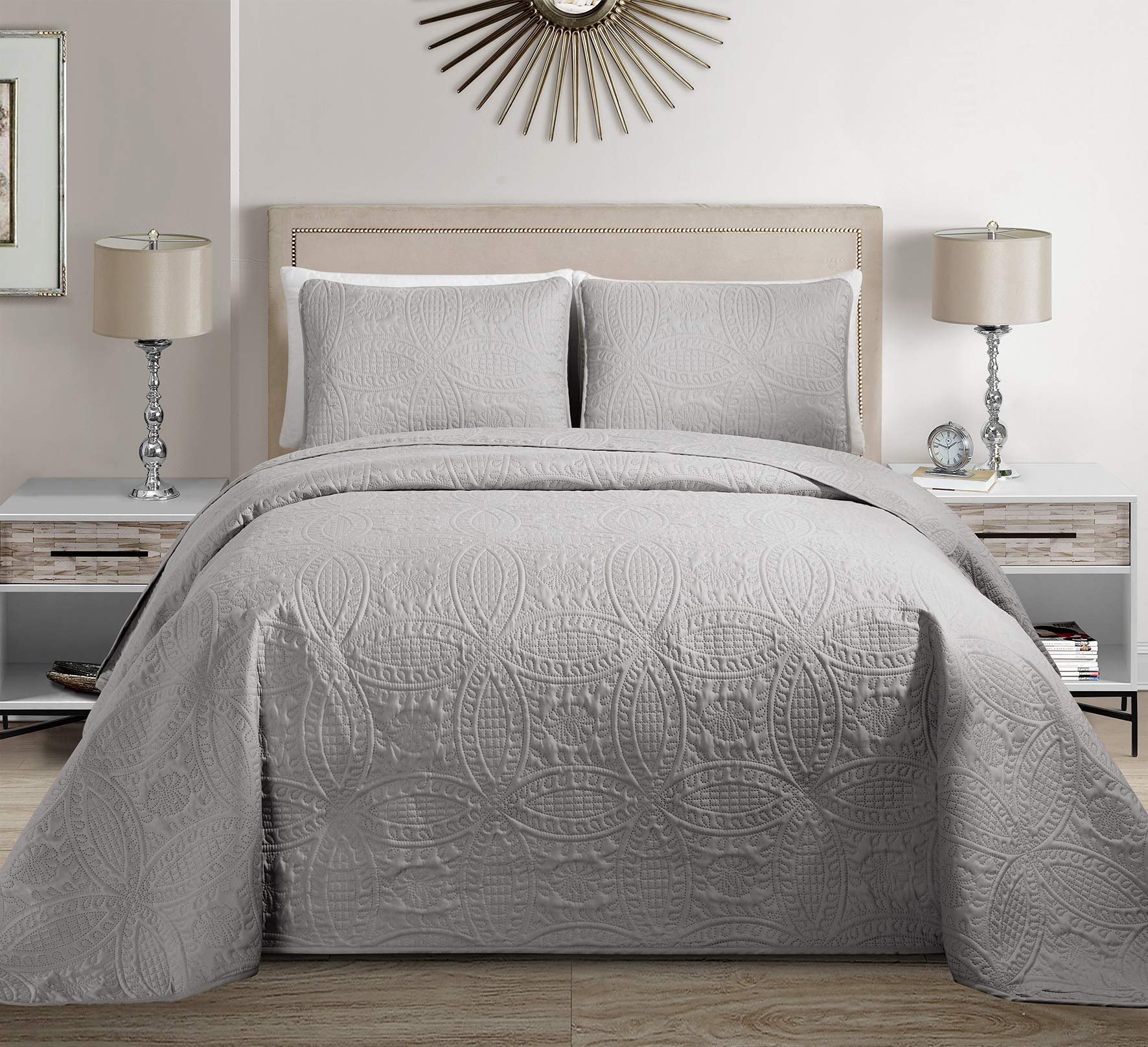 Linen Plus King/California King 3pc Over Size Embossed Coverlet Bedspread Set Silver/Light Grey New by Linen Plus
