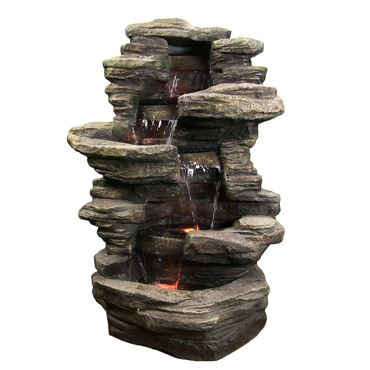 Amazon Com Sunnydaze Stacked Shale Electric Outdoor Waterfall Fountain With Led Lights 38 Inch Tall Garden Outdoor